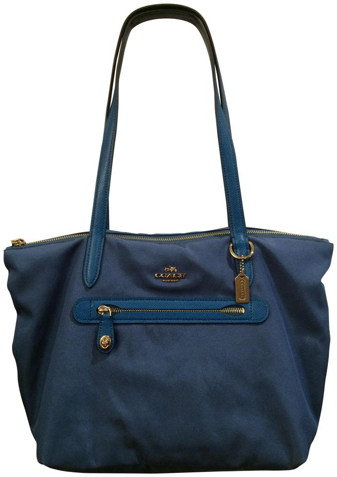 bceba95e22f ... purchase cheap 381e8 94061 Coach Zip Exterior Pocket Lightweight  Leather Trim Tote in Teal . ...