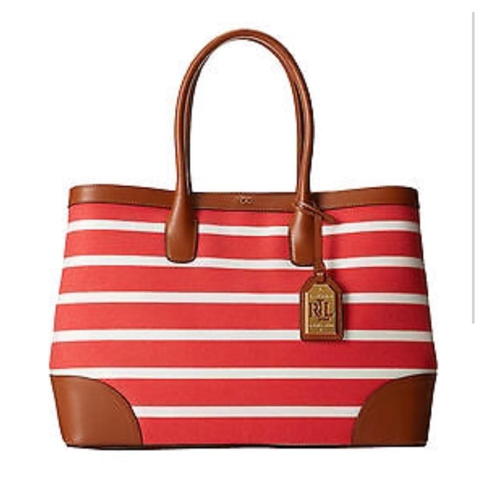 Lauren Ralph Tote In Red Stripe