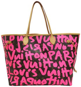 Louis Vuitton Lv Graffiti Neverfull Pink Canvas Shoulder Bag