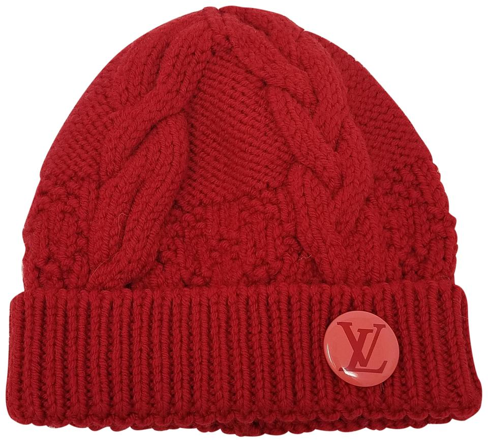 a95c5996429 Louis Vuitton Red Pink Magenta Wool Constance Lv Beanie Hat - Tradesy