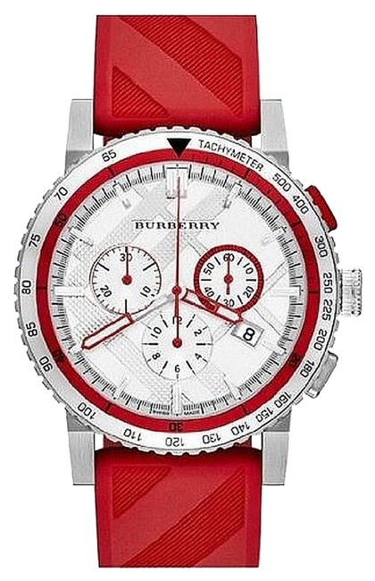 Item - Red Men's City Sport Silicone Silver Tone Stainless Steel Bu9809 Watch