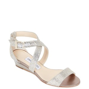 Jimmy Choo Metallic Sparkle Formal Wedding Champagne Wedges