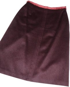 Barneys New York Silk & Velvet Trim Made Italy Cashmere/Wool/Angora Skirt Bordeaux Burgandy