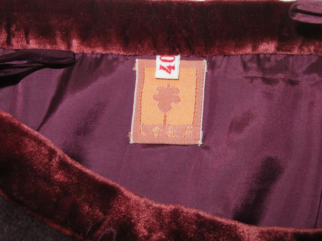Barneys New York Silk & Velvet Trim Made Italy Cashmere/Wool/Angora Skirt Bordeaux Burgandy Image 1