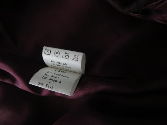 Barneys New York Silk & Velvet Trim Made Italy Cashmere/Wool/Angora Skirt Bordeaux Burgandy Image 7