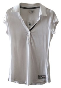 Guess Collar 3-buttoned Cap Sleeve V-neck T Shirt True White