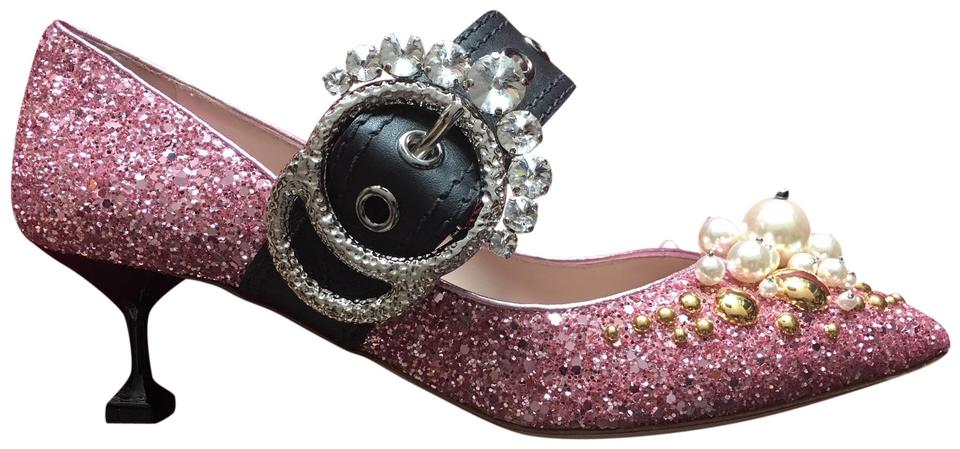 2eedfc4c8a01 Miu Miu Pink Glitter Crystal Mary Jane with Kitten Heel Pumps Size ...