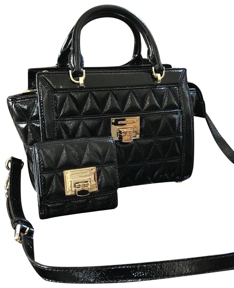 Michael Kors Patent Leather Vivianne Quilted Monogram Satchel In Black