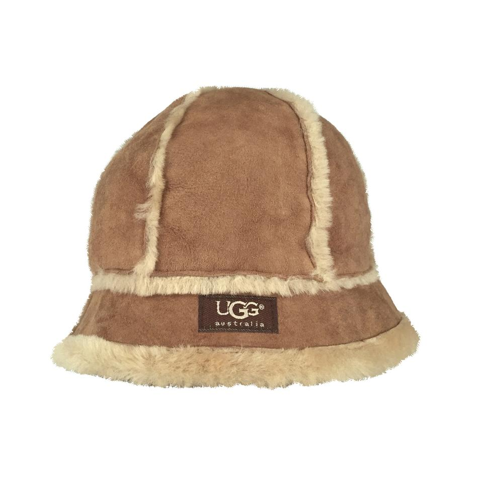 a044a4953 UGG Australia Brown Bucket Chestnut Suede Shearling Hat 58% off retail
