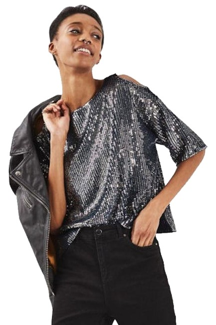 Topshop Petite Double Layered Sequin Cold Shoulder Navy Blue Top Topshop Petite Double Layered Sequin Cold Shoulder Navy Blue Top Image 1