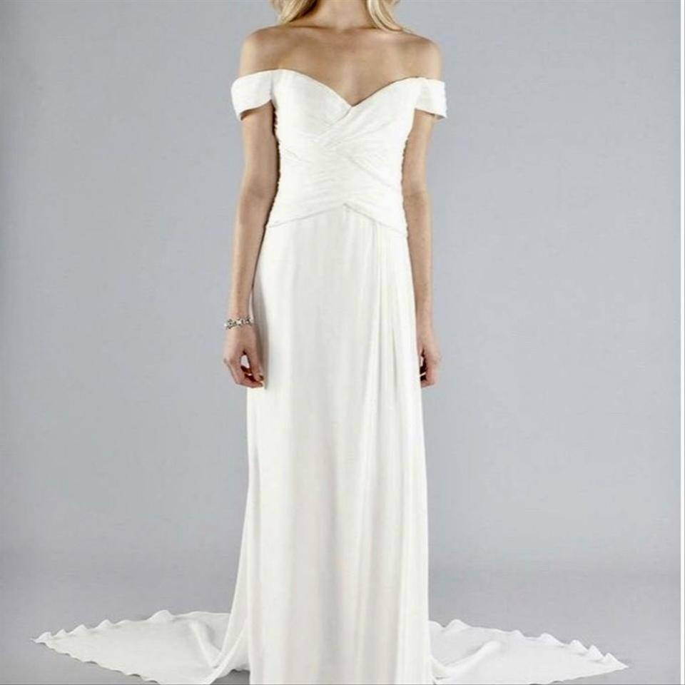 964bd225d4073 Nicole Miller Bridal Antique White Silk Julian Gown Fn0004 Formal Wedding  Dress. Street Size  ...