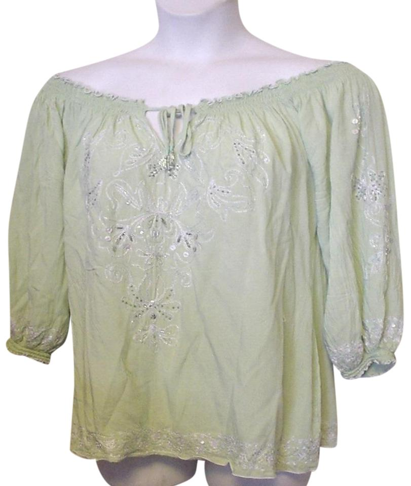 893b2c73ae2 Green Embroidered Beaded Keyhole Peasant Casual Ec Tunic Size 12 (L ...