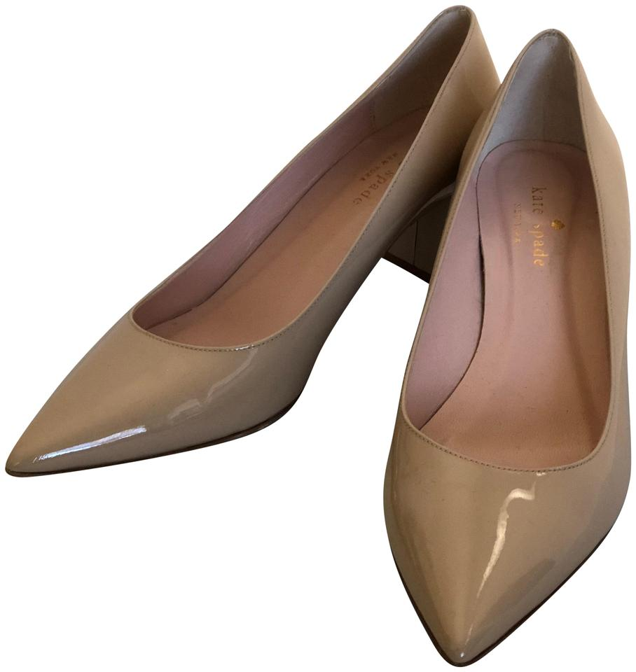 db796fb4ee6f Kate Spade Beige Nude Milan Patent Leather Pointy Chunky Heel Pumps ...