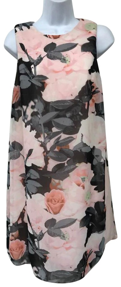 5afcc8d051 Vince Camuto Pink Grey Floral Print Grey Pink Shift Casual Maxi ...