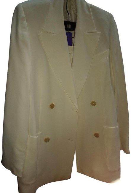 Item - White Made In Italy Double Breasted Pant Suit Size 10 (M)