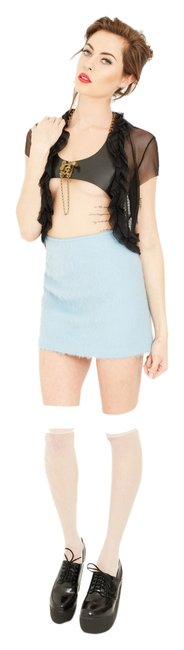 Moschino Vintage Designer Mini Mohair Skirt light blue