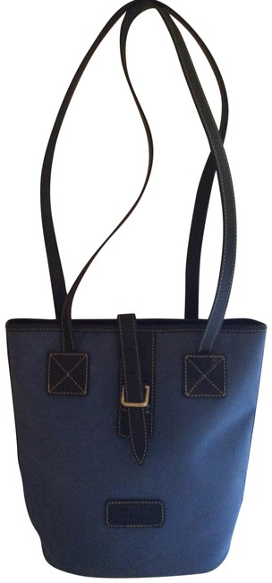 Item - Bucket With Leather Straps Blue Canvas Shoulder Bag