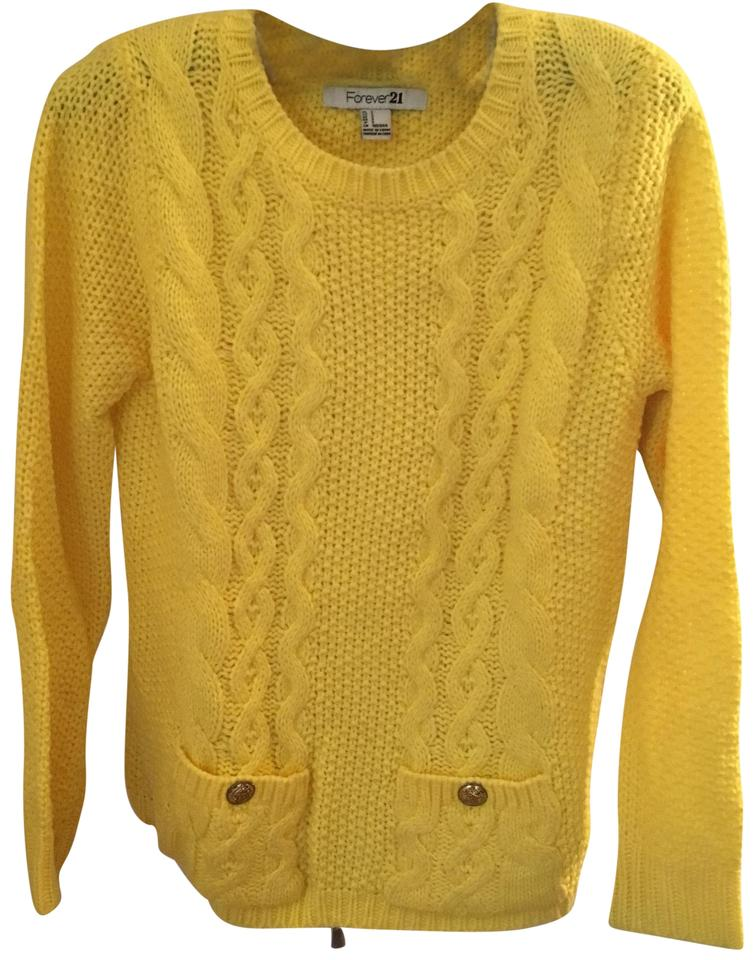 Forever 21 Yellow Lemon Cable Knit Nwot Sweaterpullover Size 0 Xs