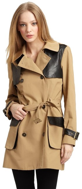 Rebecca Minkoff Lambskin Leather Trench Coat Image 0