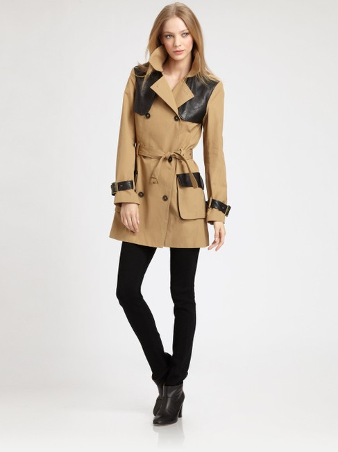 Rebecca Minkoff Lambskin Leather Trench Coat Image 1