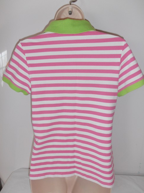Lilly pulitzer pink white and green polo shirt pink white for Pink white striped shirt