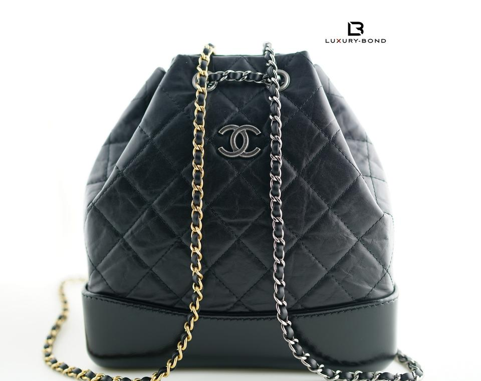 1b7530f41756 Chanel Gabrielle Small Black with Silver and Gold Hardware Aged Calfskin  Smooth Calfskin Backpack - Tradesy