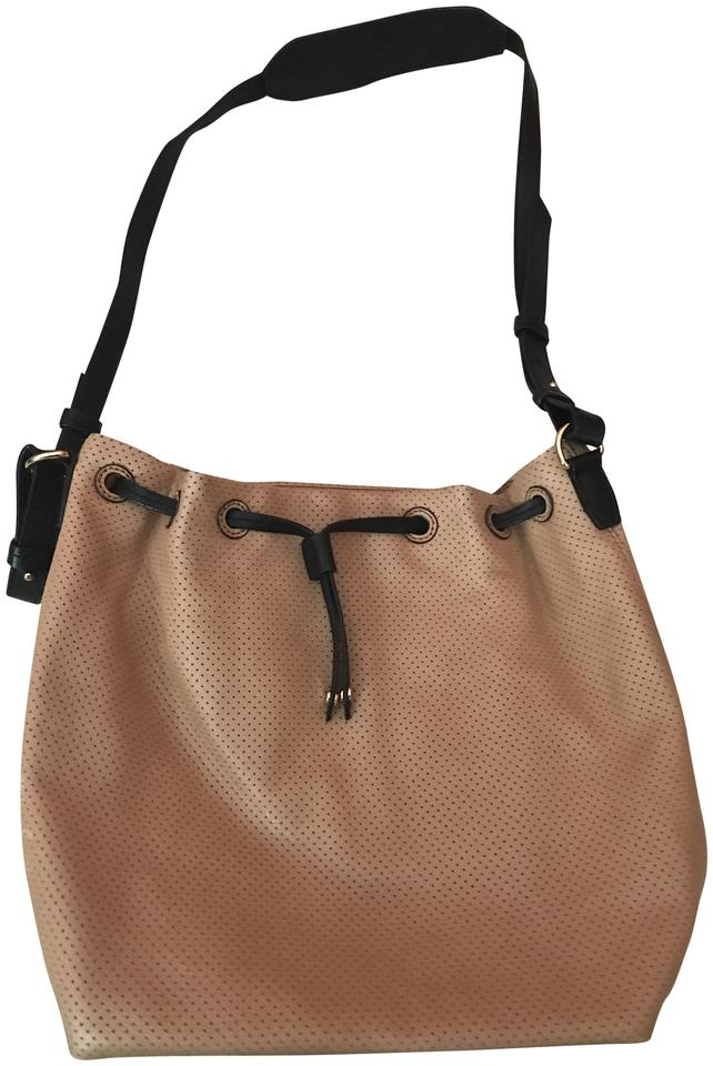 6a2f3df100129 Banana Republic Perforated Drawstring Bucket Brown + Black Leather Cross  Body Bag