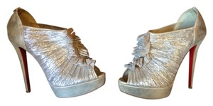 Christian Louboutin Open Toe Ruffle Metallic Gold Boots