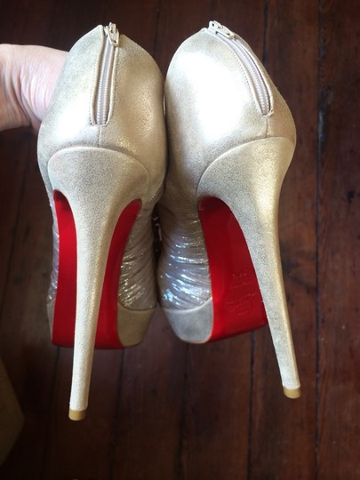 Christian Louboutin Open Toe Ruffle Metallic Hidden Platform Stiletto Gold Boots