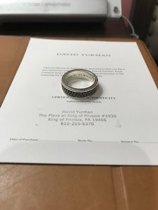 David Yurman Silver with Black Pave Diamonds 2 Row Ring Men's Wedding Band