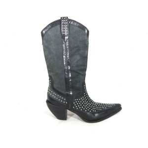 Donald J. Pliner Country Studded Cowboy black Boots