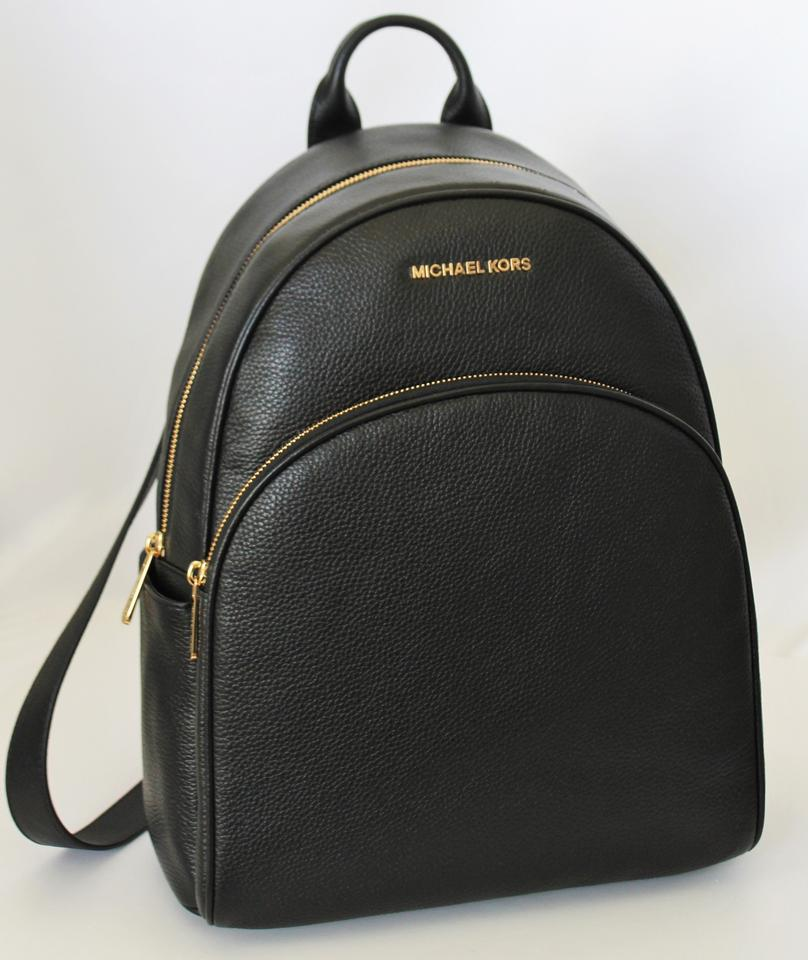 9a72ffcf6b4a Michael Kors Abbey Large Frame Black Gold Pebbled Leather Backpack - Tradesy