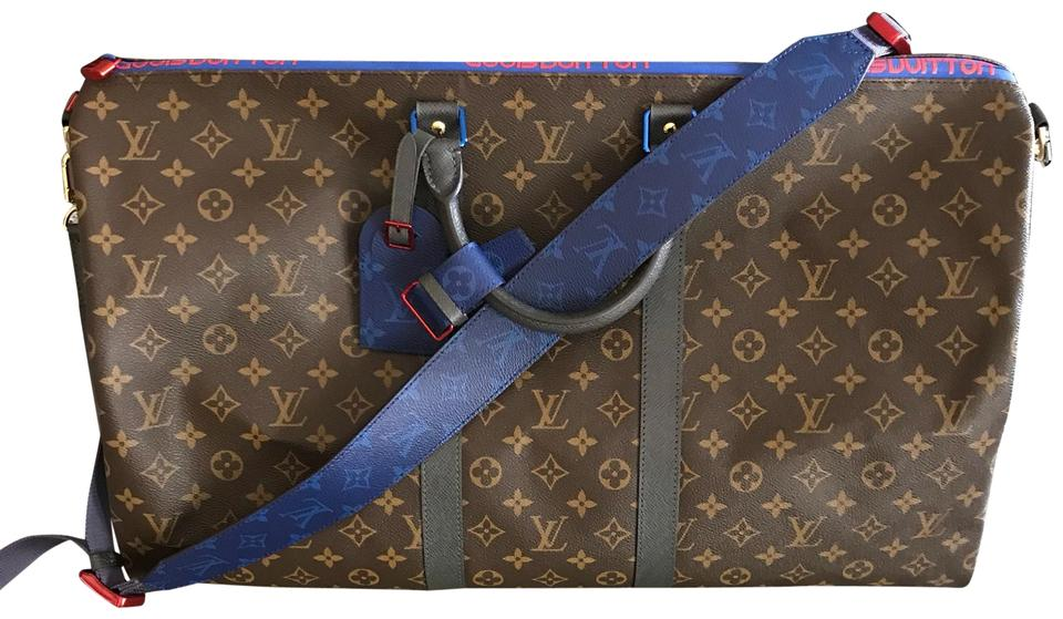 e186c9248926 Louis Vuitton Keepall Bandouliere 55 Macassar Monogram Kim Jones Rare Limited  Edition Brown Leather Weekend Travel Bag