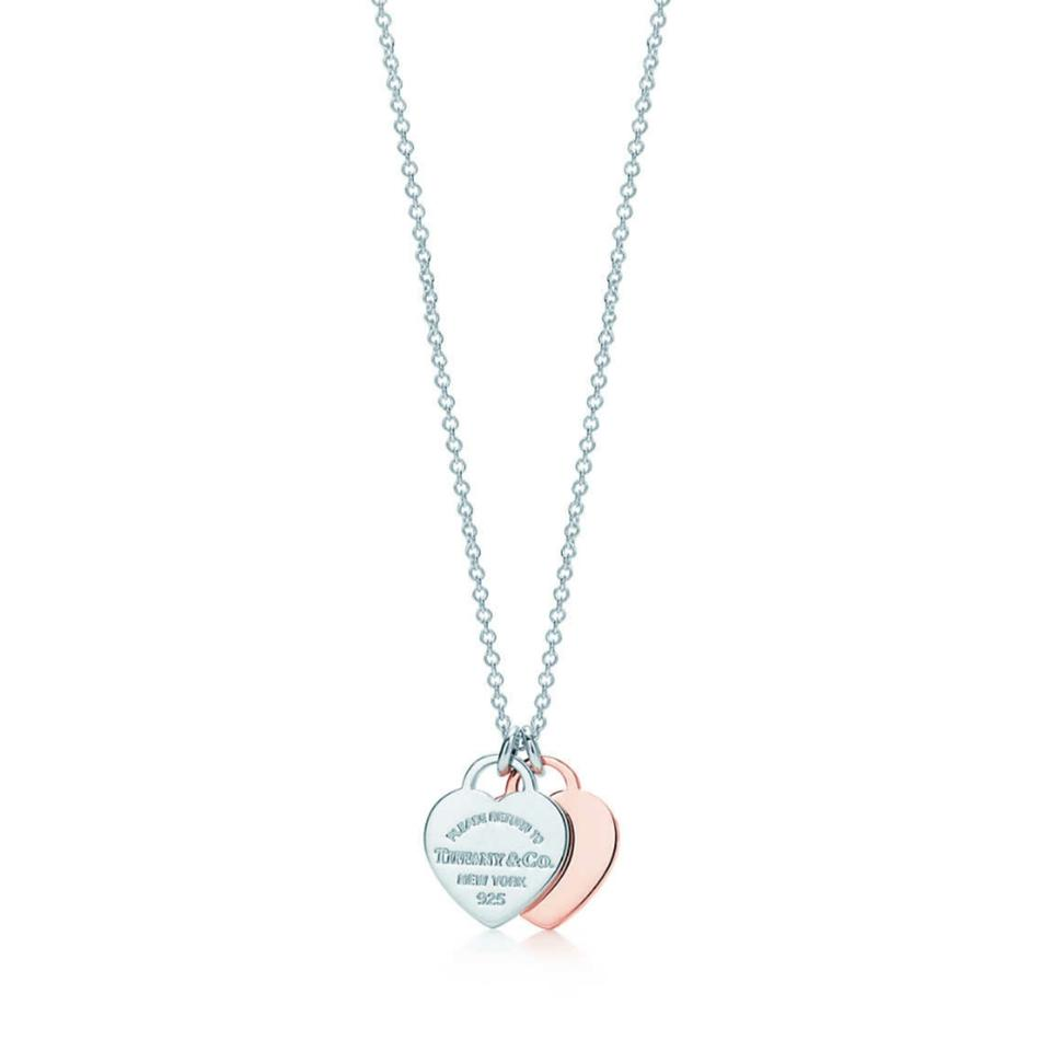 Tiffany co rose gold 18k and silver double heart tag necklace tiffany co rose gold 18k and silver double heart tag necklace aloadofball Image collections