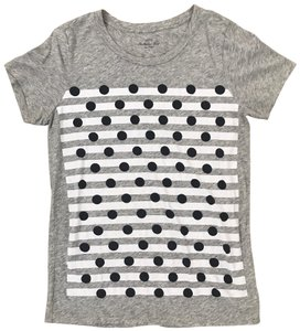 J.Crew T-shirt Print Cotton Striped Polka Dot T Shirt Gray