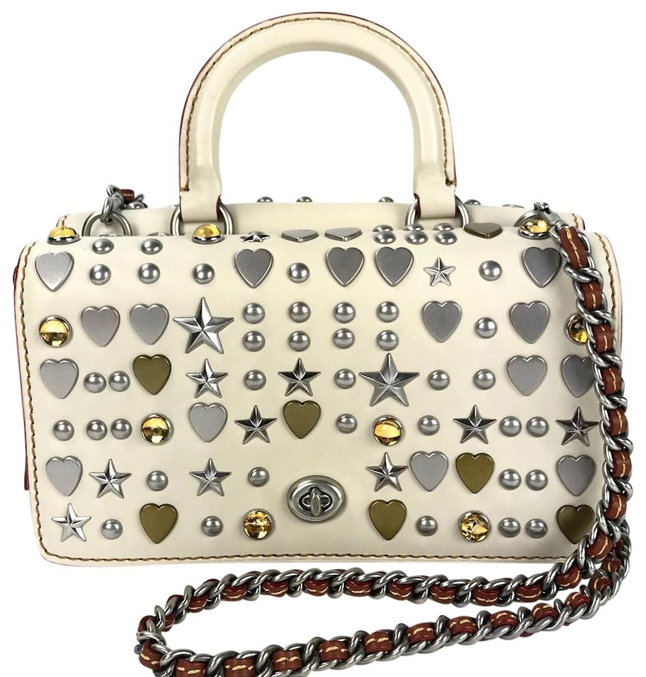 Coach 1941 Dinky Double Studded Top-handle Cream Leather Shoulder ... 8978266cef046
