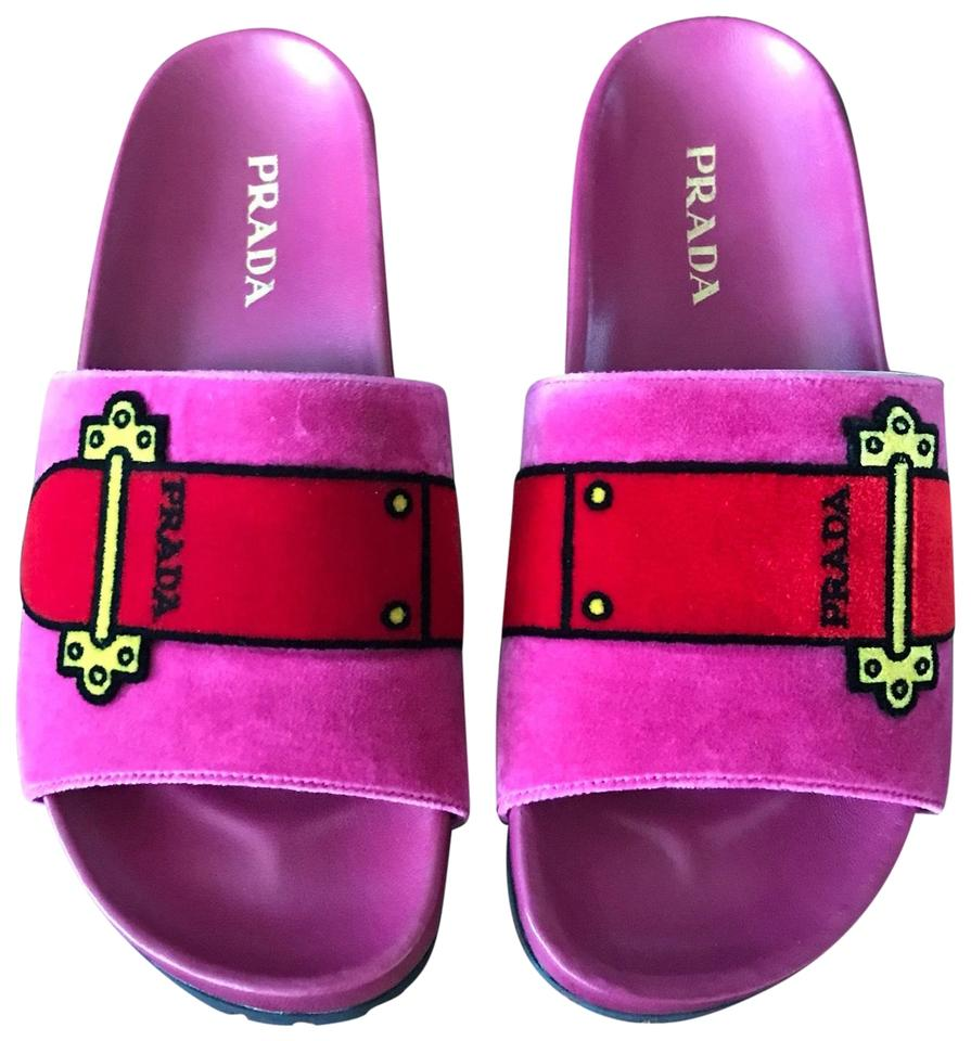 Prada Pink Red Logo New Velvet Logo Red Slide Sandals b3b170