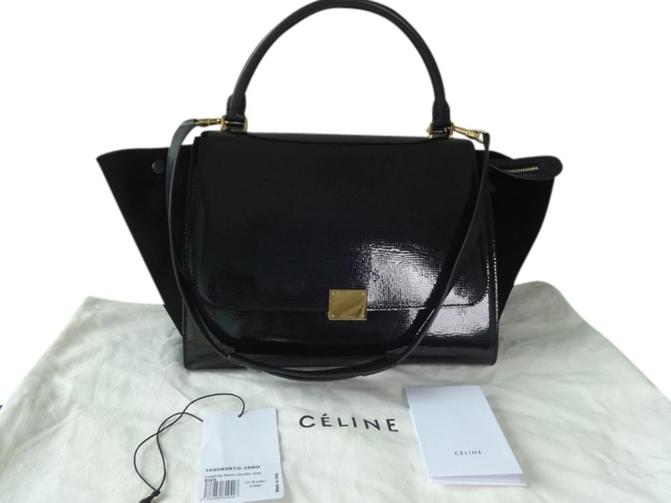 65723757c8 Céline Trapeze Leather  Suede Long Strap Excellent Condition Black ...