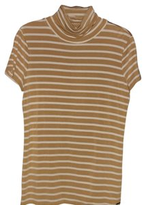 Michael Kors T Shirt Tan and White Turtle Tee