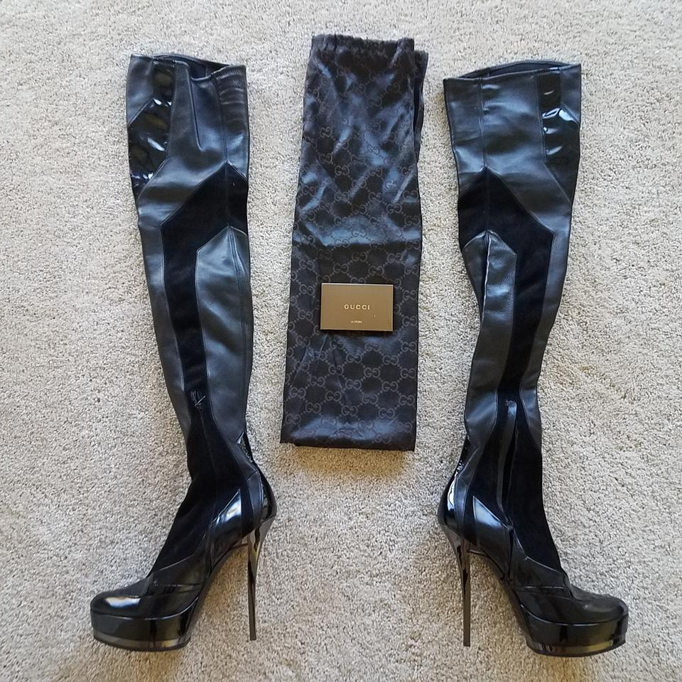 7db0e0115f3 Gucci Thigh-high Platform Guccissima Patent Leather Division Black Boots  Image 11. 123456789101112