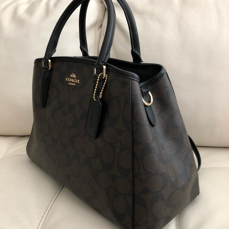 69ae5b0af4 Coach Margot Small Carryall In Signature Brown Black Canvas Satchel ...