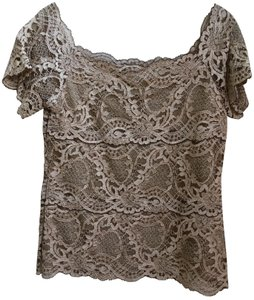 Boston Proper Lace Pull Over Tan Wedding Valentines Day Top beige