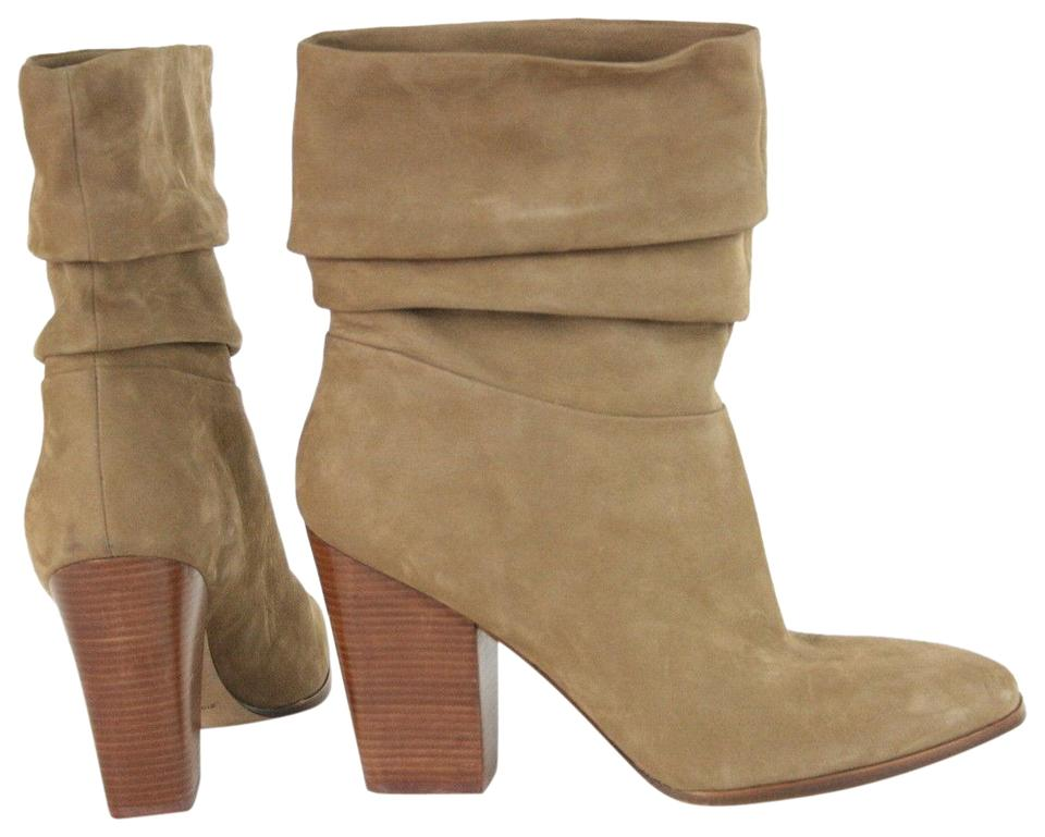 Sigerson Morrison Tan Suede Stacked Boots/Booties Heel Slouch Boots/Booties Stacked 59c9f5