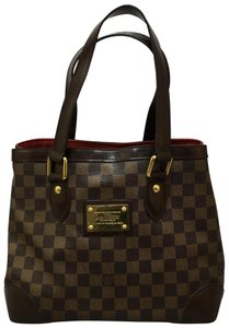 Louis Vuitton Lv Damier Ebene Hampstead Mm Canvas Tote in brown