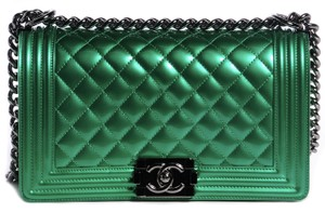 f459d67dfadf Added to Shopping Bag. Chanel Shoulder Bag. Chanel Classic Flap Boy Medium  Quilted Metallic Green Calfskin Leather ...