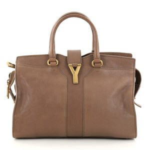 Saint Laurent Cabas Leather Tote in Brown