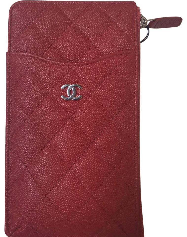 235c9fdd3057 Chanel Red Classic Flat Phone Pouch Wallet - Tradesy