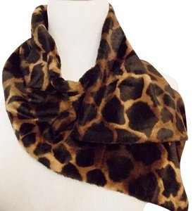 Unknown Animal Print Scarf Muffler Velvet Velour Brown Black Women's Vintage
