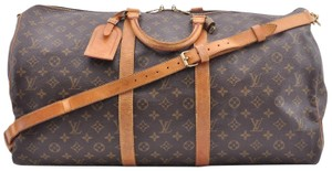 Louis Vuitton Monogram Keepall Bandouliere 55 Boston Brown Travel Bag