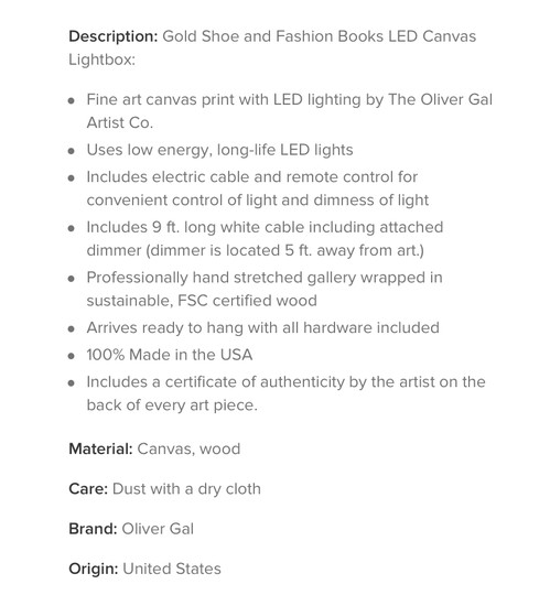 The Oliver Gal Artist Co. Gold Shoe and Fashion Books Lightbox Other
